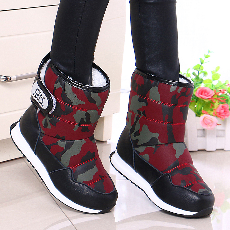 Little Boys Warm Camouflage Snow Boots Toddler Kids Mid-Calf Soft Plush Anti-slip Winter Shoes for School Outdoor Hiking boots apakowa winter girls mid calf plush snow boots little princess outdoor waterproof boots with zipper toddler kid anti slip shoes