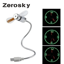 Zerosky Flexiable USB Fans Adjustable USB Gadget Mini LED Light USB Fan Desktop Clock High Quality Summer Cool Fans For Laptop