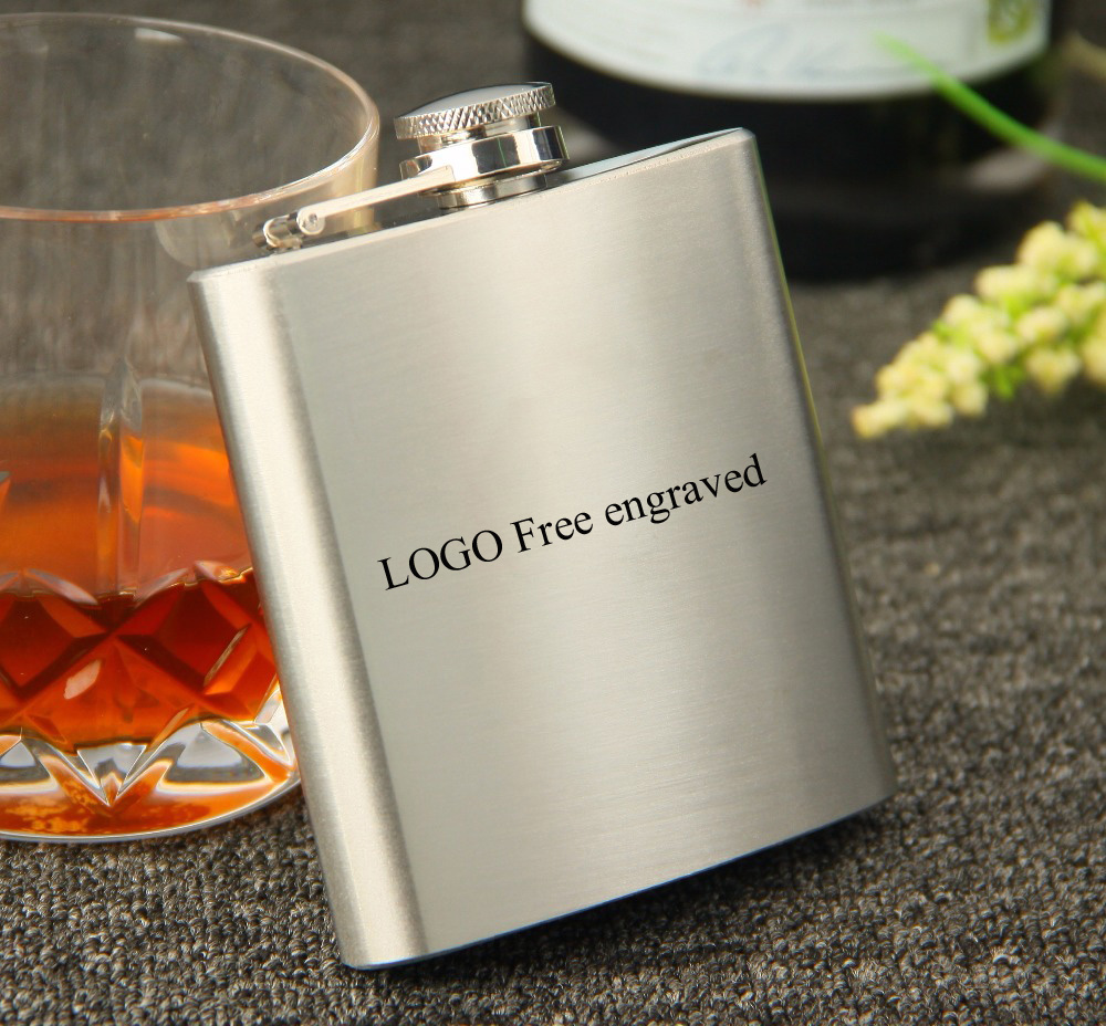 100pcs Portable whiskey 6oz stainless steel hip flask shipping free by DHL