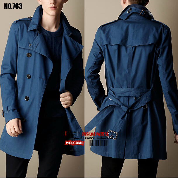 Осень зима мужчины бренд одежда приталенный двубортный длинная участки плащ пальто / S-3XL