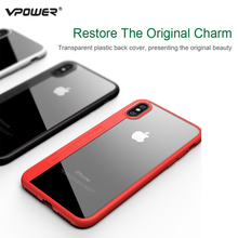 for iPhone 8 Case For iPhone8 back cover Vpower Ultra Thin Silicone Edge+Transparent Acrylic Backplane Case Capa for iPhone 8 backplane board for 46c7919 46c7918 x3250m2