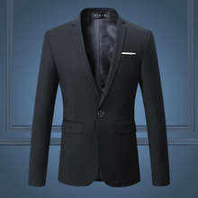Black Classy Mens Blazer Jacket One Button Slim Wedding Suit Men Solid