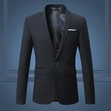 Черный стильный для мужчин Блейзер Куртка одна кнопка тонкий свадебный костюм Твердые M-3XL s повседневное Пиджаки для женщи