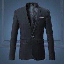 Siyah şık erkek Blazer ceket bir düğme Slim düğün Suit erkekler katı M 3XL Mens Casual Blazers beyaz özelleştirilebilir büyük boyutu