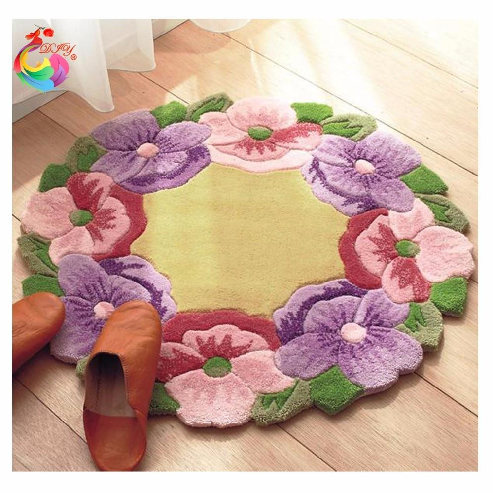 Needlework stair carpet mats Unfinished diy rug Latch Hook Rug Kit Floor Mat DIY Unfinished Handmake classic flower 50*50 cm