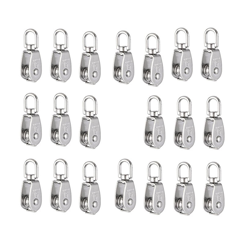 DSHA -Crane Pulley Block M15 Lifting Crane Swivel Hook Single Pulley Block Hanging Wire Towing Wheel 10Pcs