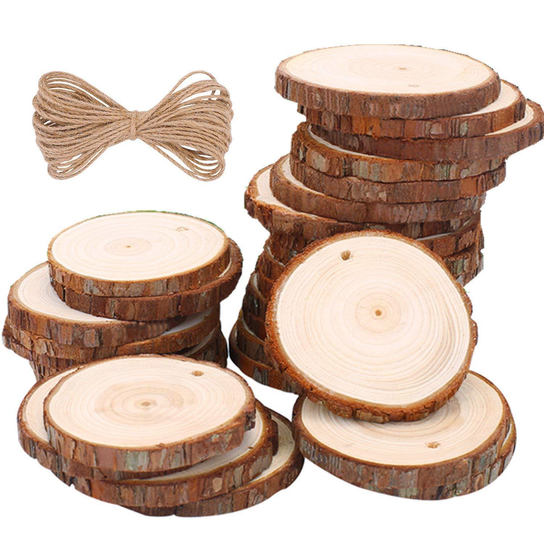 Tranches de bois tranches de bois naturel disques de bois tranches de bois avec trou et ficelle de Jute pour centres de table sous-verres décorations de noël