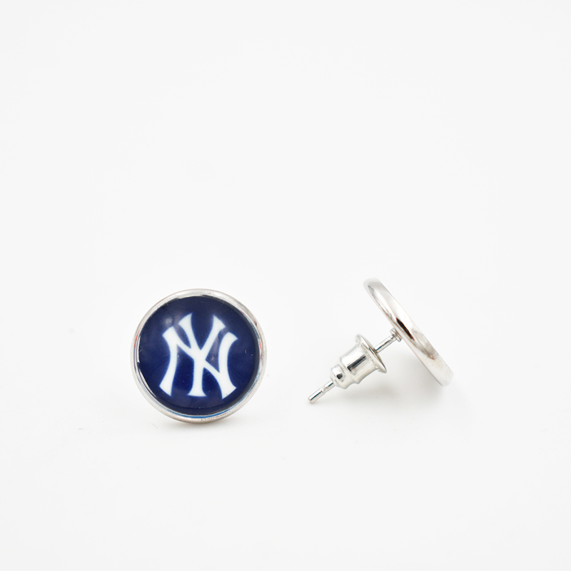 Stainless Steel 6 Style NY Yankees 12MM Glass Round Piece Earrings Baseball Team