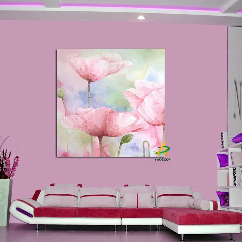 YWDECOR Big size Rosa e Bianco Poppy Flowers Stampa Moderna tela ...