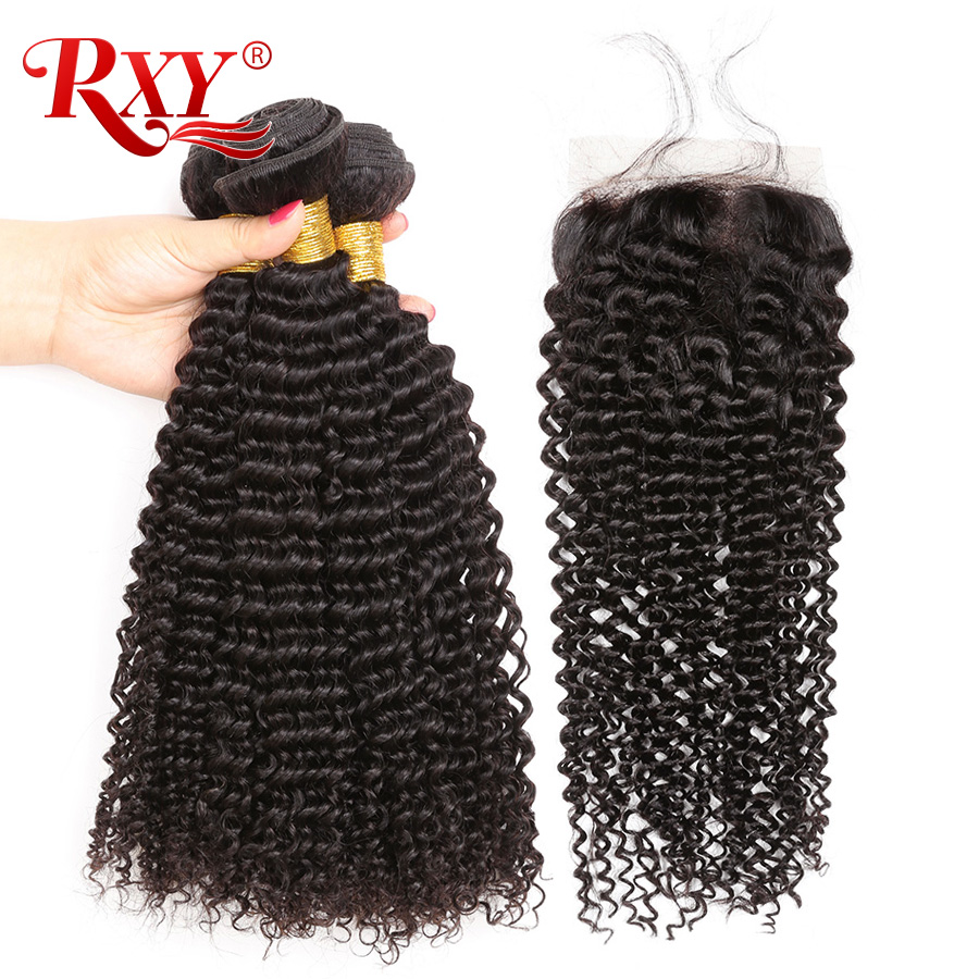 RXY Hair Kinky Curly Bundles With Closure 100 Remy Weaves Human Hair With Closures Peruvian Hair
