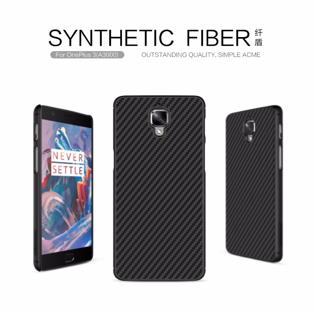 for Oneplus 3 Nillkin Synthetic Fiber Hard Back Cover Case for Oneplus 3t A3000 Phone Case with Iron Sheet Mobile Phone Case