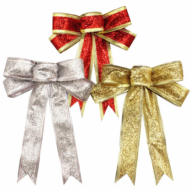 15cm red silver gold sparkling glitter christmas bow decoration christmas tree decoration wired ribbon christmas ornaments - Decorating With Silver And Gold For Christmas
