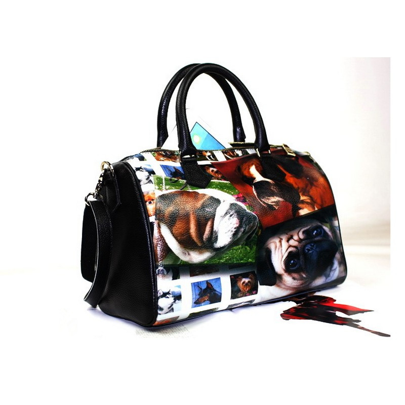 Large Capacity Genuine Leather womenTop-handagle Bags Classic Female Animal Prints printing Casual Messenger bag Top-Duffel bag