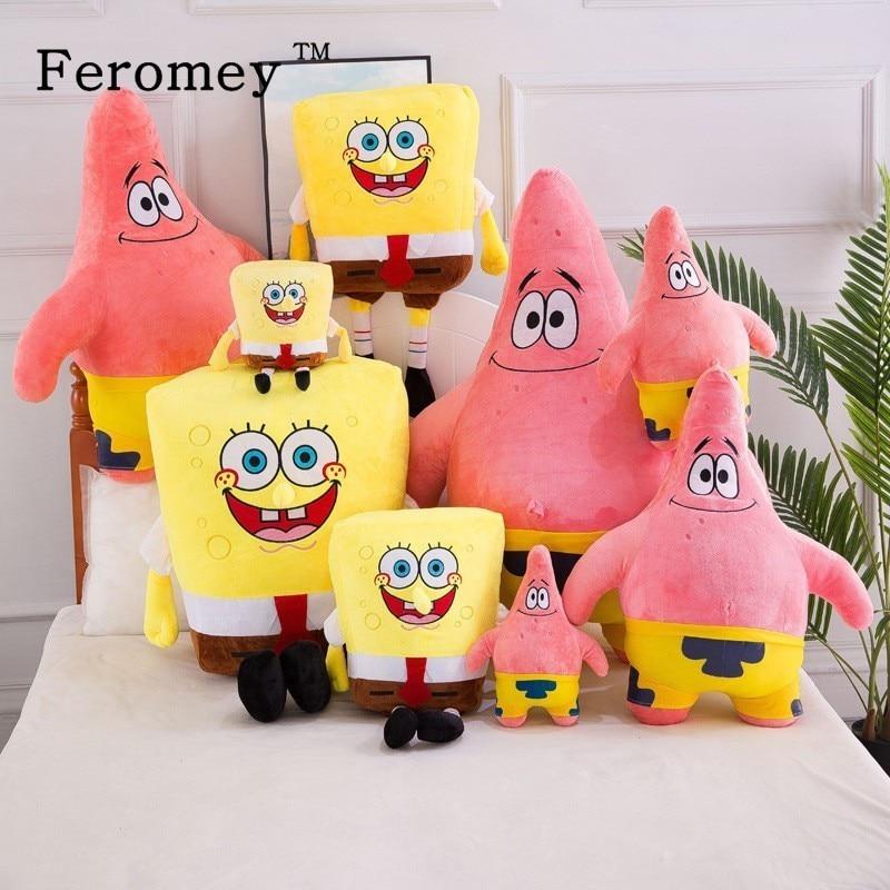 20-55cm Giant Spongebob Patrick Star Plush Doll Toys Kawaii Sponge Bob Stuffed Toys Pillow Doll Children Kids Birthday Gifts