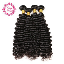 Deep Wave Bundles Remy Brazilian Human Hair Weave Bundles 1 to 3 PCs Extension Match With Closure Or Frontal Can Permed Slove(China)