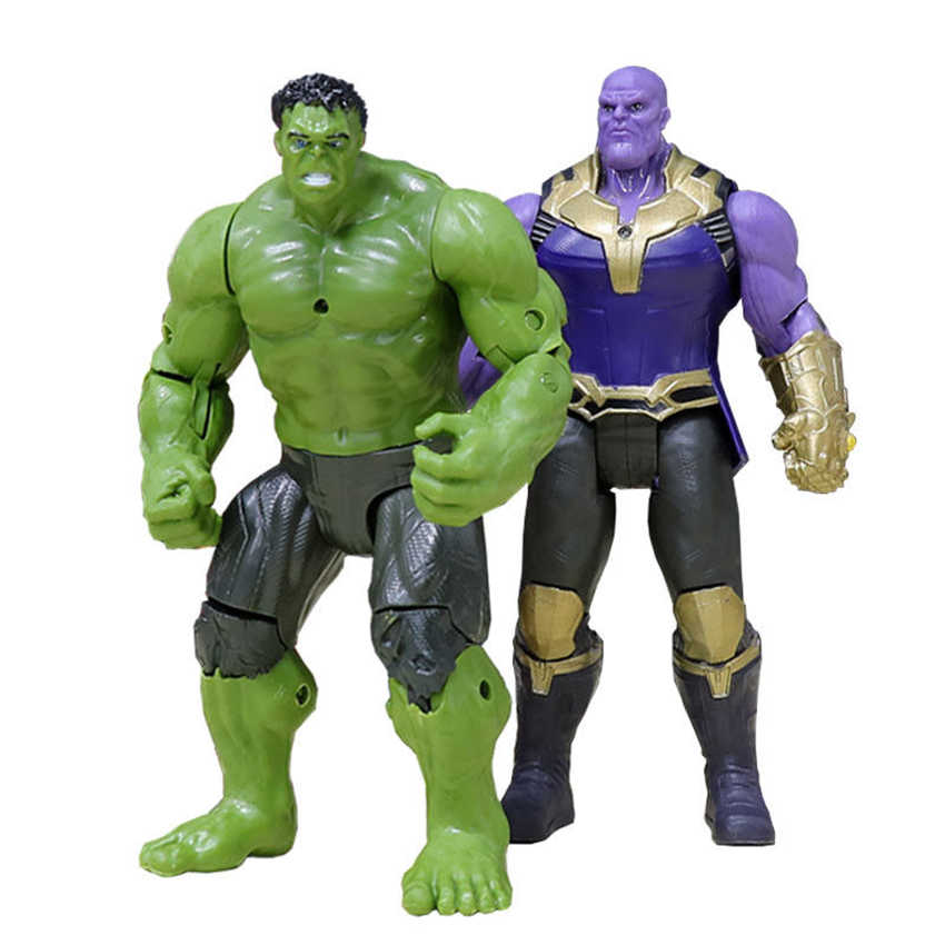 2 pçs/set LEVOU Luz Móveis Hot Incrível Hulk Buster Thanos Hulkbuster Action Figure 10 cm PVC Brinquedos Smash