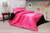 Hot Pink black natural mulberry silk bedding set solid king size queen sets duvet cover bed sheet bedspread