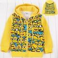 2015 Kids boys Minions Winter coat outerwear long sleeve Fleece Hooded jumper hoodies sweatshirts 6pcs/lot