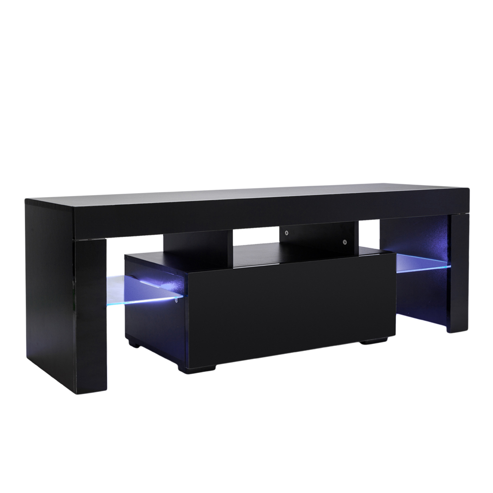 US $95.49 |TV Stand Unit Cabinet Console with LED Light Shelves 1 Drawers  for Living Room Black US Shipping-in TV Stands from Furniture on AliExpress