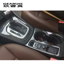 Стайлинга автомобилей углеродного волокна автомобильный держатель стакана воды рамка Обложка отделка полоски авто аксессуары коробка передач украшение для Audi Q3 2013-2017