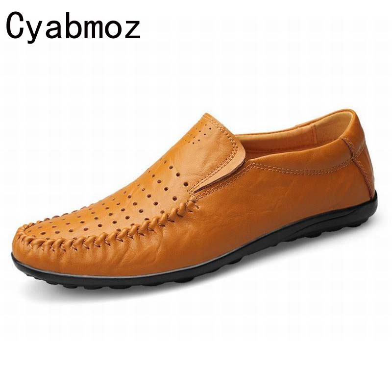 2018 Flats New Arival Authentic Brand Casual Men Genuine Leather loafers Drive Shoes Plus size Euro38-48 Handmade moccasins shoe cyabmoz 2017 flats new arrival brand casual shoes men genuine leather loafers shoes comfortable handmade moccasins shoes oxfords