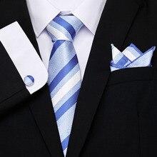 High Quality Tie Set for Men Sky Blue Floral Tie and Handkerchief  Necktie Man Corbatas Hombre Pocket Square Wedding Tie