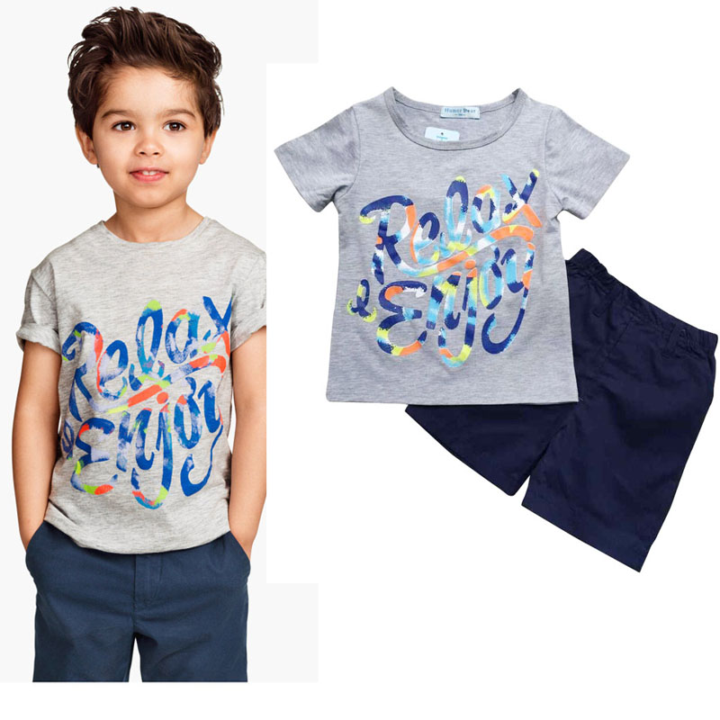 New Suit Set Short Sleeve T-Shirt+Pant Long Cotton Round Neck Letter Printing Solid Color Children Boy Suit 2-6 T new hot sale 2016 korean style boy autumn and spring baby boy short sleeve t shirt children fashion tees t shirt ages