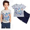 New Suit Set Short Sleeve T-Shirt+Pant Long Cotton Round Neck Letter Printing Solid Color Children Boy Suit 2-6 T