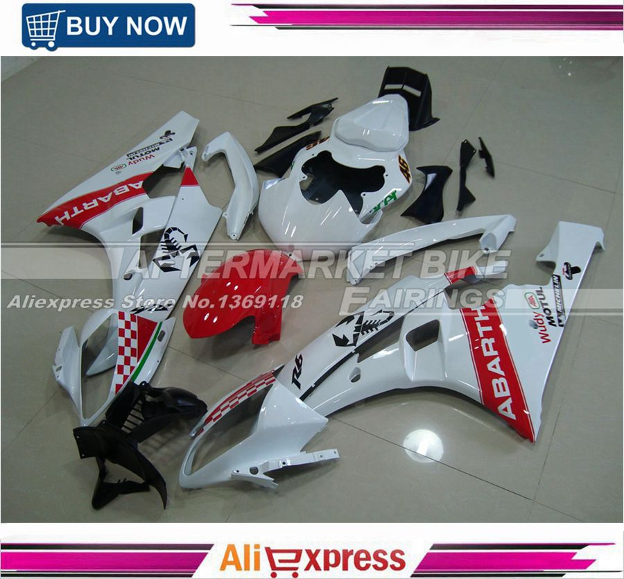 Injection Fairings For Yamaha YZF-R6 06 07 YZF600 R6 2006 2007ABS Motorcycle Fairing Kit Bodywork Cowling WHITE-RED-ABARTH motorcycle fairings kits for yamaha yzf600 yzf 600 r6 yzf r6 2008 2014 08 14 abs injection fairing bodywork kit white black