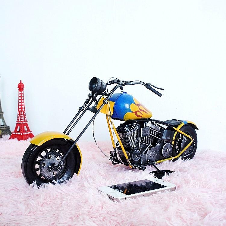 Vintage en fer forgé pour harley-davidson modèles de moto beau cadeau d'anniversaire bar-café décoration de vitrine