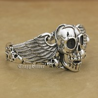 925 Sterling Silver Skulls Devil Wing Mens Biker Rokcer Bracelet Bangle 9B014