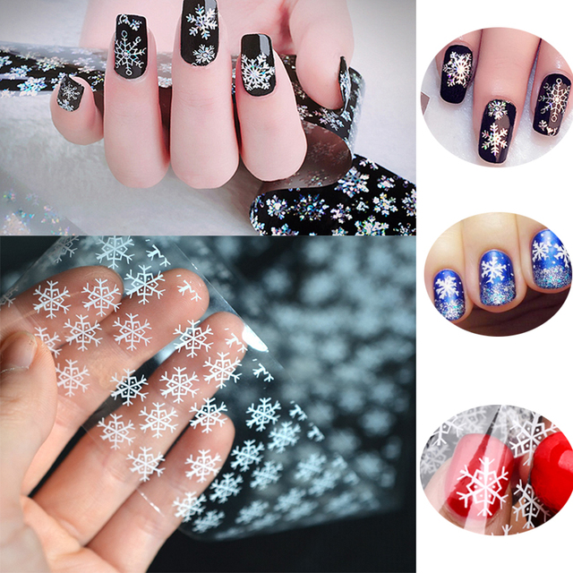 Aliexpress com : Buy 2 Rolls 4cm*100cm Christmas White Winter Snowflake  Flowers Nail Foil Nail Art Transfer Sticker Stencils Decals DIY Manicure  Tool