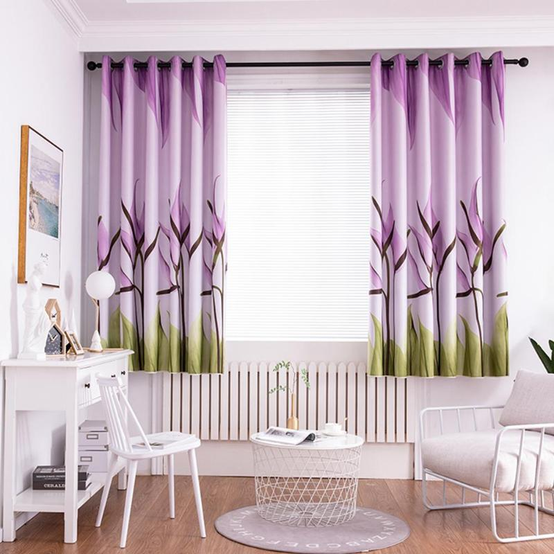 Lily Printing Polyester Window Blinds Drapes Living Room Blackout Curtains(China)