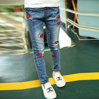 2016 New Style Kids Jeans Girls Red Lips Trousers Spring Autumn Fashion Designer Children Pants Casual