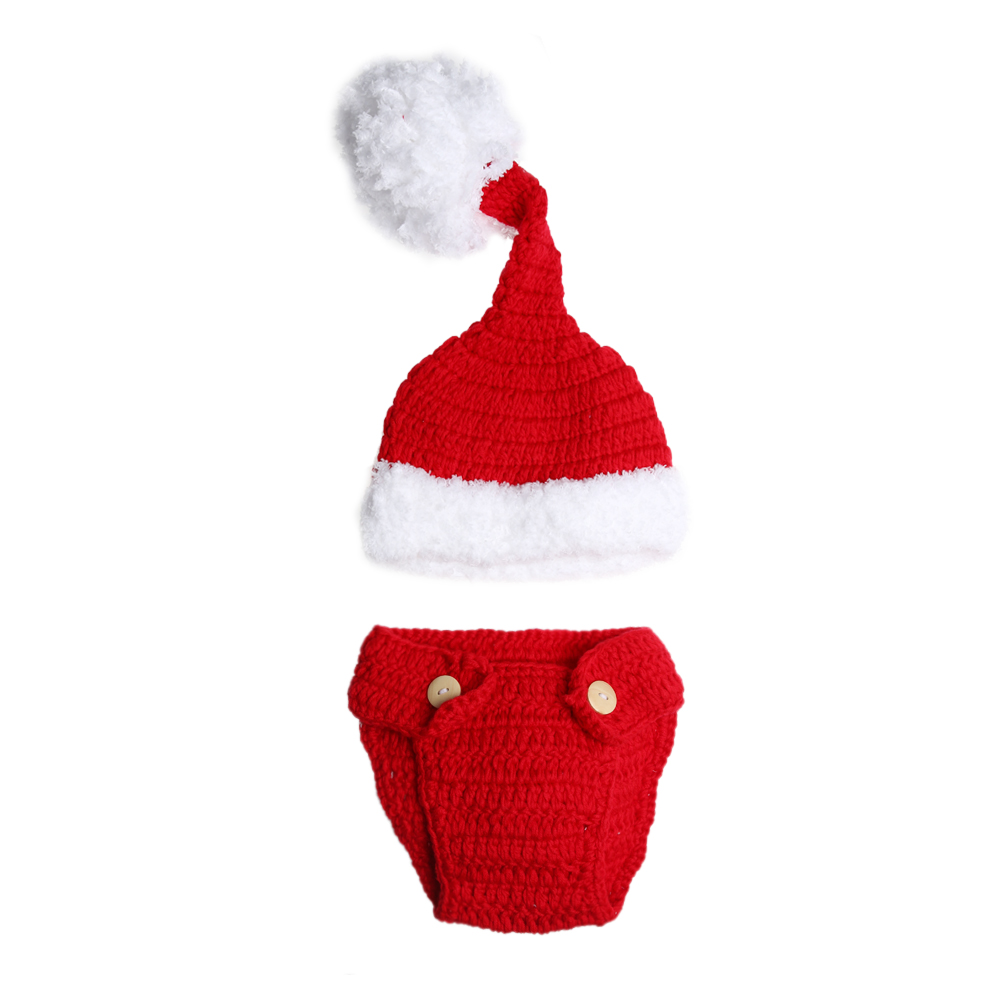 Recién Nacido bebé Navidad crochet traje de punto sombrero ...