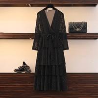 4XL 5XL Autumn Long Sleeve Plus Size Dress Woman Elegant V neck Long Party Dress Large Size Vintage Dress Ladies Maxi Vestidos