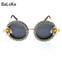 Baroque Flower Rhinestone Sunglasses Fashion Circular Daisy Floral Sunglasses Spectacles Shades Girl Outdoor Summer Sunglasses