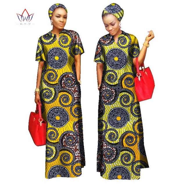 2017 estilos mulheres roupas riche bazin africano livre material de cabeça reta 100% algodão cachecol senhora longo dress maxi tamanho wy843