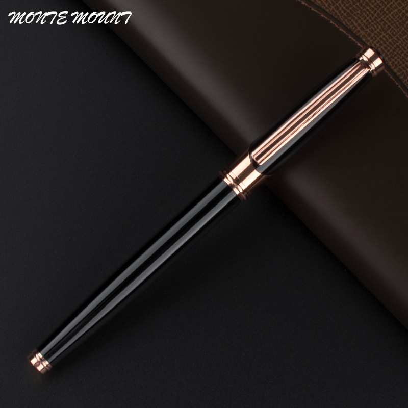 MONTE MOUNT metal Black Rose Gold Business Office gel pens  Without Pencil Box  luxury school metal gift Roller Ball Pens black new arrival ballpoint pen and bag metal school office supplies roller ball pens high quality business gift 003