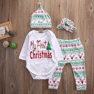 Navidad bebé niños Niñas Niños manga larga romper + pantalón + sombrero  ropa de la venda 88d9eb9b66c