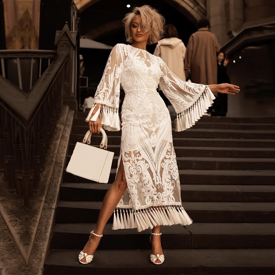 Adyce Summer Bandage Dress 2019 New Arrivals White Lace Long Sleeve Tassel Maxi Club Dress Celebrity