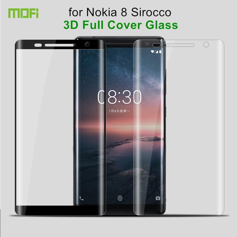 Per Nokia 8 Sirocco Temperato Velo di Vetro 5.5 pollici MOFi 3D Pieno Della Copertura Della Protezione Dello Schermo per Nokia 8 Sirocco di Vetro temperato Pellicola