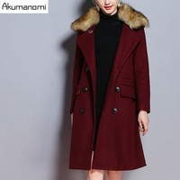 Winter Women Overcoat Blends Keep Warm Hairy Double Turn Down Collar Double Breasted Pocket Coats Women