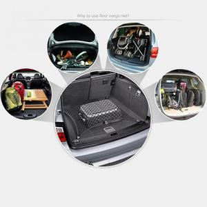 Image 2 - Net in the trunk of the car storage Elastic Nylon Net Pouch Mesh Debris Bags Rear Cargo Storage Bag With 4 Hooks car accessories
