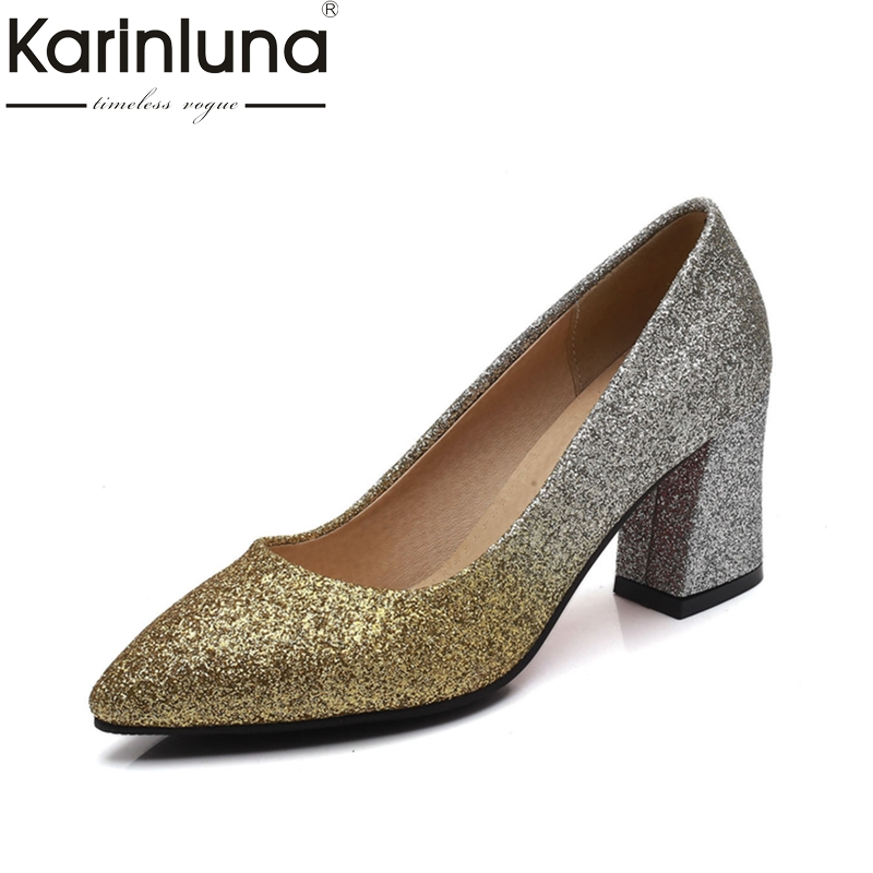 Karinluna 2018 Big Size 32-43 Spring Brand Shoes Women Sexy Square High Heels Pointed Toe Slip On Woman Pumps Shoes lady glitter high fashion designer brand bow soft flock plus size 43 leisure pointed toe flats square heels single shoes slip on