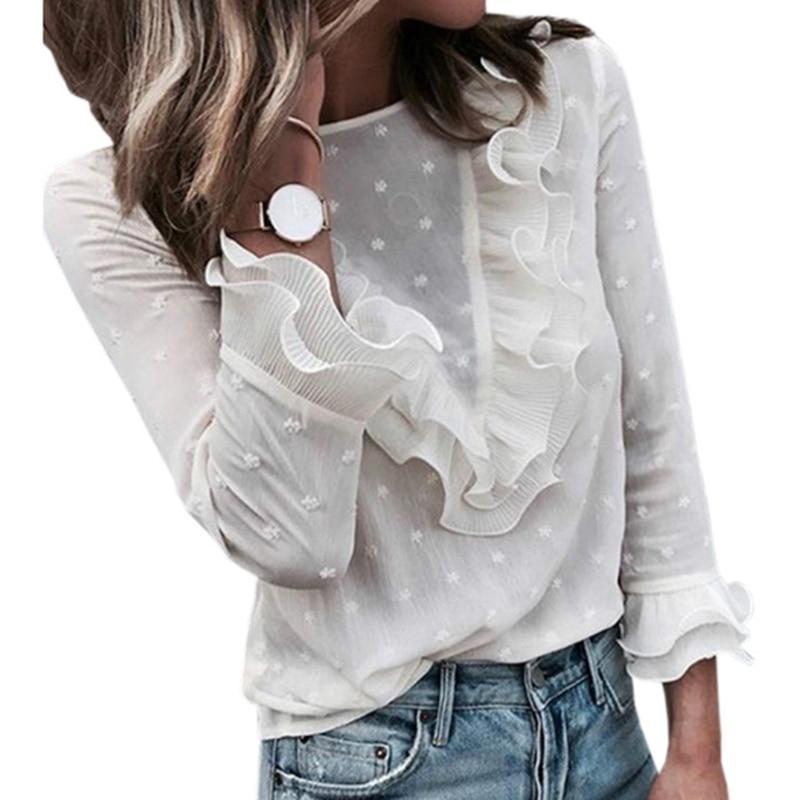 Elegant Female Workwear Butterfly Sleeve Lace Ruffles Women Blusas Autumn White Blouses Shirts Office Woman Tops Plus Size GV859