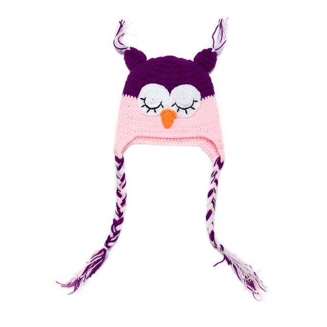 Kinder Baby Wolle Hand stricken Zipfelmütze Eule Hut Tier Hut ...