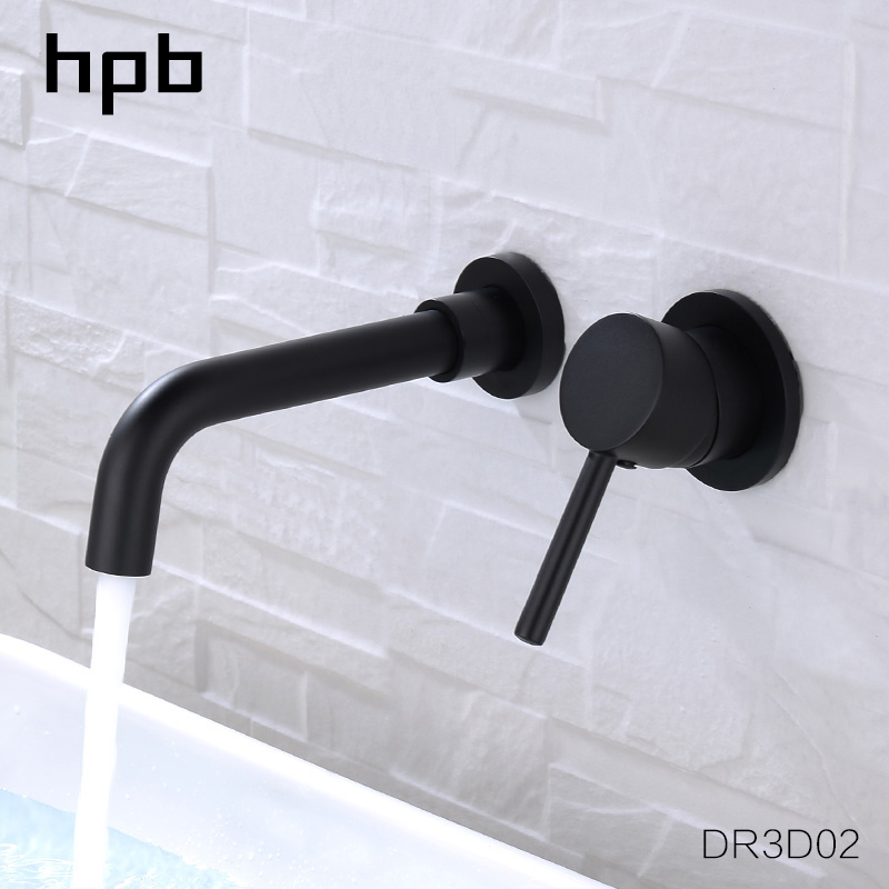 HPB Brass Round Wall Mounted Basin Faucet Bathroom Spout Faucet Single Handle Mixer Tap Hot And Cold Water Matte Black DR3D02 hpb 2017 innovate upper spray design basin mixer faucet bathroom sink tap hot and cold water square style single handle