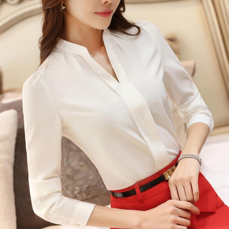 d3c38ca242a 2018 весенние модные пикантные с v-образным вырезом рубашка женская OL  Карьера темперамент Формальные Длинные рукава офисная блузка