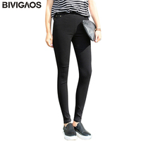 BIVIGAOS New Fashion Womens Casual Stretch Skinny Slim Woven Leggings Sewing Button Leggings Pencil Pants For Women Clothing
